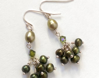 Olive Green Freshwater Pearl Earrings (Sterling Silver)