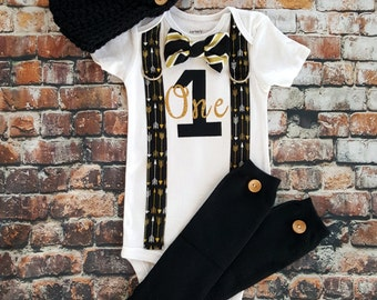 Baby Boy First Birthday Bow Tie and Suspender Bodysuit, Black and Gold, Button Leg Warmers, Newsboy Hat, 1st Birthday Boy Shirt, Glitter One