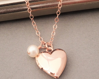 Heart Locket Necklace Rose Gold, Rose Gold Heart Locket with Pearl, Gold Locket, Tiny Locket Necklace, Rose Gold Jewelry, Pearl and Locket