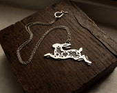 Silver Hare Necklace - Magical Hare - Leaping Hare - Silver Bunny Necklace - Silver Rabbit - UK Hallmark