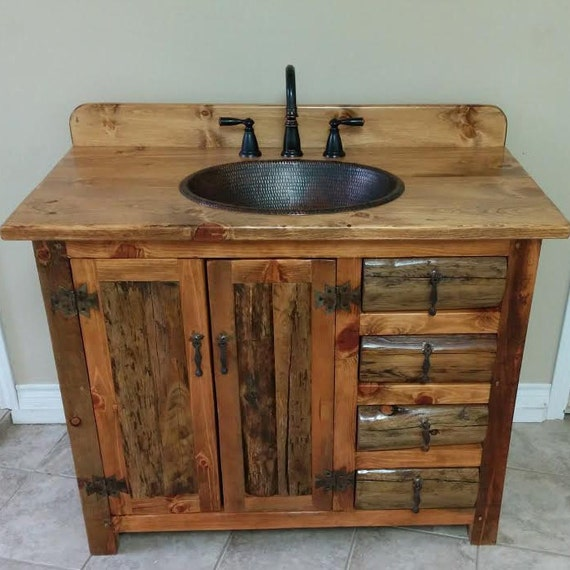 "RUSTIC BATHROOM VANITY - 42"" - Copper Sink - Rustic Sink - Bathroom Vanity with Sink - Bathroom Vanity - Bathroom Vanities - Rustic Bathroom"