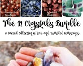 The 12 Crystals Bundle - A Sacred Collection of Raw and Tumbled Gemstones.