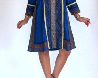 Vintage 70s Ethnic Blue Indian Boho Festival Shift Dress