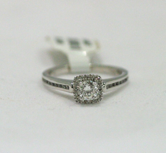 Halo Diamond Engagement Ring In 14 Karat White Gold Custom