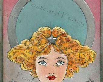 Art Nouveau Pretty Girl2,   Vintage Postcard Illustration, Instant Digital Download, Easter, Spring, Lilies, Printable Image