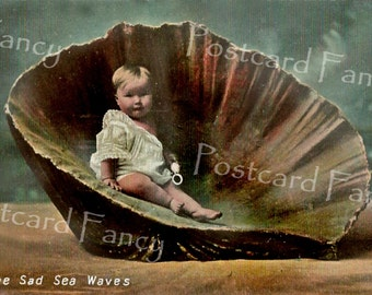 Precious BABY in Seashell, Vintage Beach Postcard, Instant DIGITAL Download