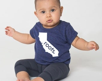California 'Roots' or 'Made' Tri Blend Baby T-Shirt - Infant Boy and Girl Tee
