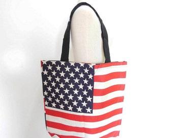 Canvas Tote Bag American Flag Bag - UK Flag Bag