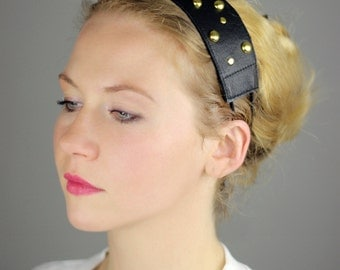 Black studded leather headwrap. Hair accessory - Headband - Hairband - Leather accessory - Hairwrap - Headpiece