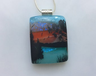 Dichroic Glass Scenic Pendant, Fused Glass Jewelry, Nature Lakeside Landscape Necklace