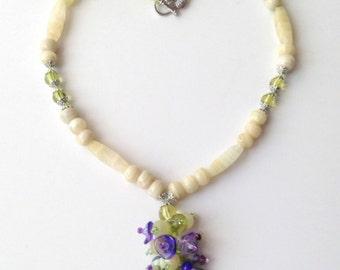 Spring Beauty, Charm Necklace,Floral Bouquet Necklace,Floral Pendant,Flower Jewelry, Unique Necklace,Butterfly Charm Necklace,Weaved Pendant