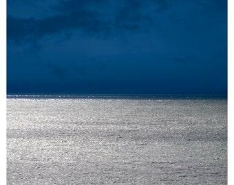 Sea print, Abstract seascape photography, minimalist landscape print, large wall art, nautical decor, navy blue silver, 11x14, 24x30 poster