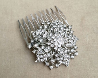 Silver hair Comb, Bridal hair comb, art deco comb, old hollywood, woodland wedding comb, flower floral silver crystal rhinestone