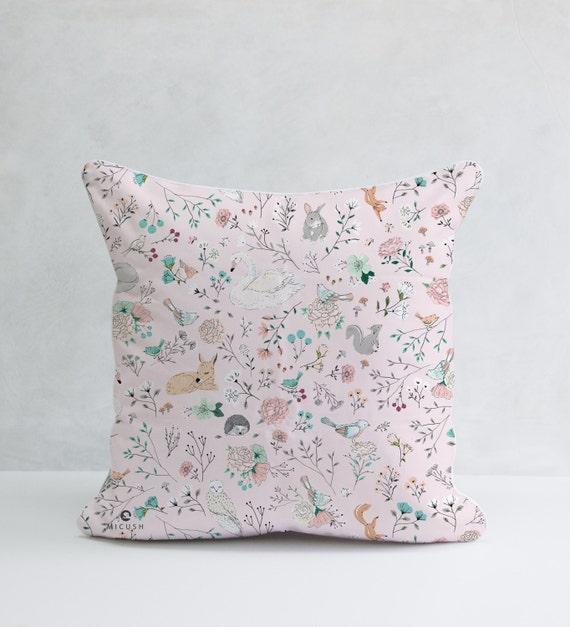 Animal Nursery Pillows : Pink Woodland Pillow Forest Animal Pillows Animal Nursery