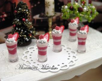 Miniature Dollhouse Strawberry Ice Cream 1:12