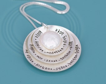 Hand Stamped Necklace, Name Necklace, Grandmother Necklace, Sterling Silver Stacked Disc Disk Pendant Necklace Freshwater Pearl Bead Accent