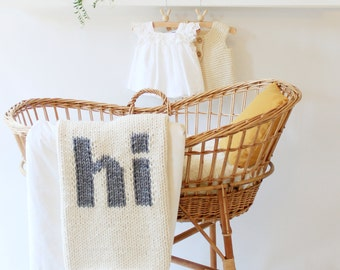Knit Baby Blanket Hi Cream and Grey Hand Knit for Bassinet