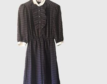 ADORABLE 70's Vintage Summer Plaid Dress