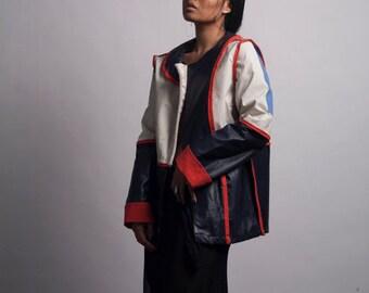 Recycled Sail Cloth Waterproof Red Tan and Navy Rain Jacket