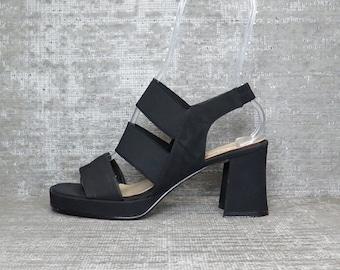 Vtg 90s Blk Stretch Cage Strappy Chunky Heel Platform Sandals 8