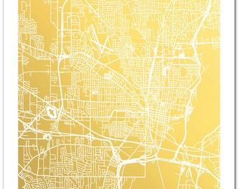 Jackson Mississippi Map, Jackson Map Wall Art, Jackson Map Print, Gold Foil Print, Map Print, Gold Foil Map™, Foil Pressed Wall Art