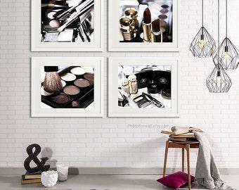 Chanel Bathroom Decor, set of 4 Photos of makeup, Bathroom Art, chanel Bathroom set, white Decor, bathroom wall art horizontal