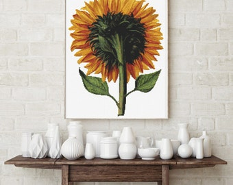 Counted Cross Stitch PATTERN Sunflower Seen from the Back by Daniel Froesch, Cross Stitch Chart PDF