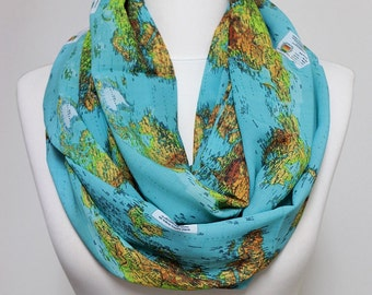 World Map Scarf Infinity Scarf Blue Scarf Scarves Loop Scarf Gift For Her Birthday Gift Unique Fashion Accessories travel gift clothing gift