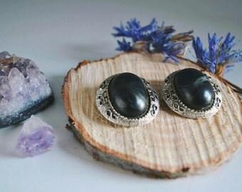 Vintage Black Agate Clip On Earrings