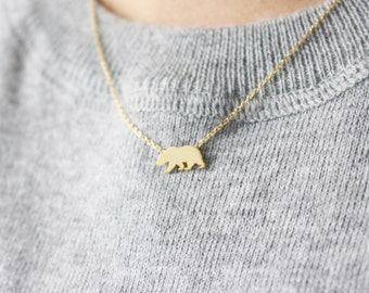 Bear necklace - gold