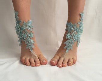 EXPRESS SHIPPING! Blue Lace Barefoot Sandals, Beach wedding Barefoot Sandals Bridal accessory Foot jewelry Wedding shoes