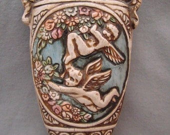 Vintage Pottery WALL POCKET with CHERUBS Made in Japan