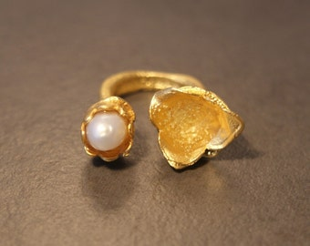 22k Gold Ring with White Pearl. Handmade to Order - Limited Edition