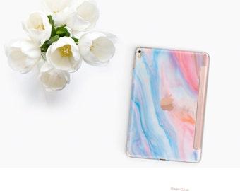 Platinum Edition Pastel Marble with Rose Gold Smart Cover Hard Case for iPad Air 2, iPad mini 4 , iPad Pro , New iPad 9.7 2017