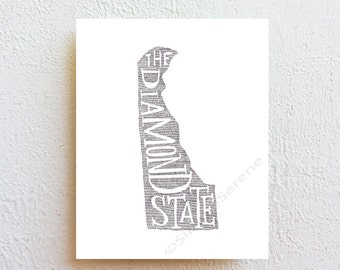 Delaware Art Print - the diamond state - map art ink drawing Illustration, typography print, state map poster, wall decor