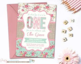 First Birthday Invitation, Birthday Invitation, 1st Birthday Invitation, Shabby Birthday Invitation, Girl's Birthday Invitation