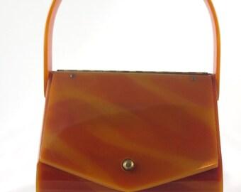 Vintage Wilardy Lucite Tortoise Swirl Purse,  Envelope-Style Handbag, 1950's