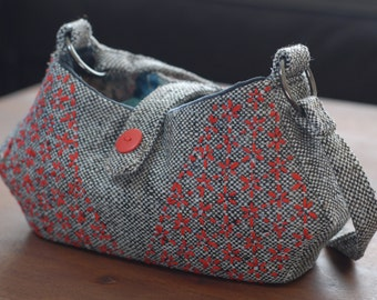 Small Handbag/Shoulder Bag with Sashiko Embroidery