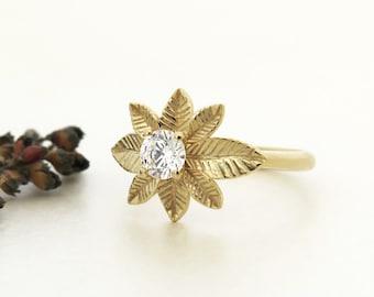 Unique engagement Ring,  Leaf engagement ring, Unique leaf diamond ring, Diamond Ring in 14k solid gold, Solitaire ring, Unique Diamond Ring