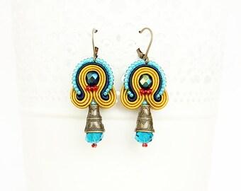 Colorful dangle earrings, soutache earrings, mustard beaded earrings, boho style earrings, soutache jewelry, fashion colorful earrings