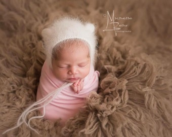 Angora Bear Bonnet - Bear Bonnet - Angora Bonnet - Newborn Photo Prop - Newborn Boy Photo Prop - Baby Girl Photo Prop - Photography Props