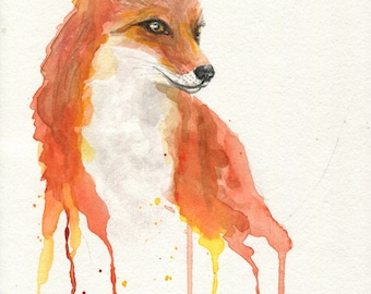 """ORIGINAL PAINTING - """"FOXY""""   A Watercolor painting by Ruth Oosterman 7.5 x 11"""