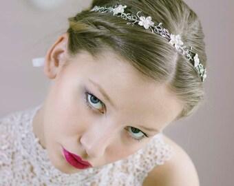 Bridal Tiara Crown,Flower Vine Headband,Leaf Flower Crown,Leaf Halo,Leaf Tiara,Silver Bridal Tiara,Silver Hair Vine,Bridal Flower Hair Vine