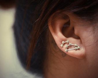 Leo Zodiac Constellation Sterling Silver Ear Climbers