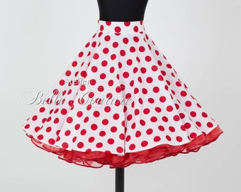 Custom Made & Handmade - 50s polka dot petticoat skirt white/red
