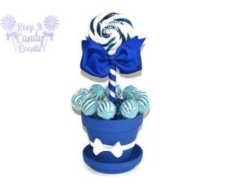 Medium Royal Blue Lollipop Centerpiece, Royal Blue Bridal Shower, Blue Candy Buffet, Sweet Sixteen, Quinceanera, Navy Wedding Decoration