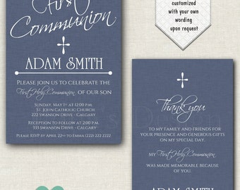 Blue Boy Communion Invites - Navy Boy Communion Invite - Printable Boy Communion Invitation - Navy Boy Communion Invitation