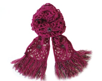 """Fuchsia Crochet Squares Scarf - Unique Pink Fringe Scarf - Handmade Winter Scarf with Tassels (84"""" x 6.5"""")"""