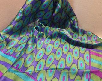 Vintage JONES NEW YORK Silk Scarf Square Green Purple