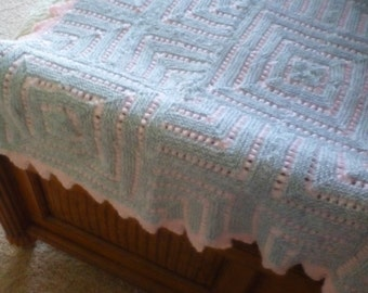 Knitted Handmade patch work blanket in pink or blue